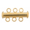 Tube Clasp With 3-strands Gold
